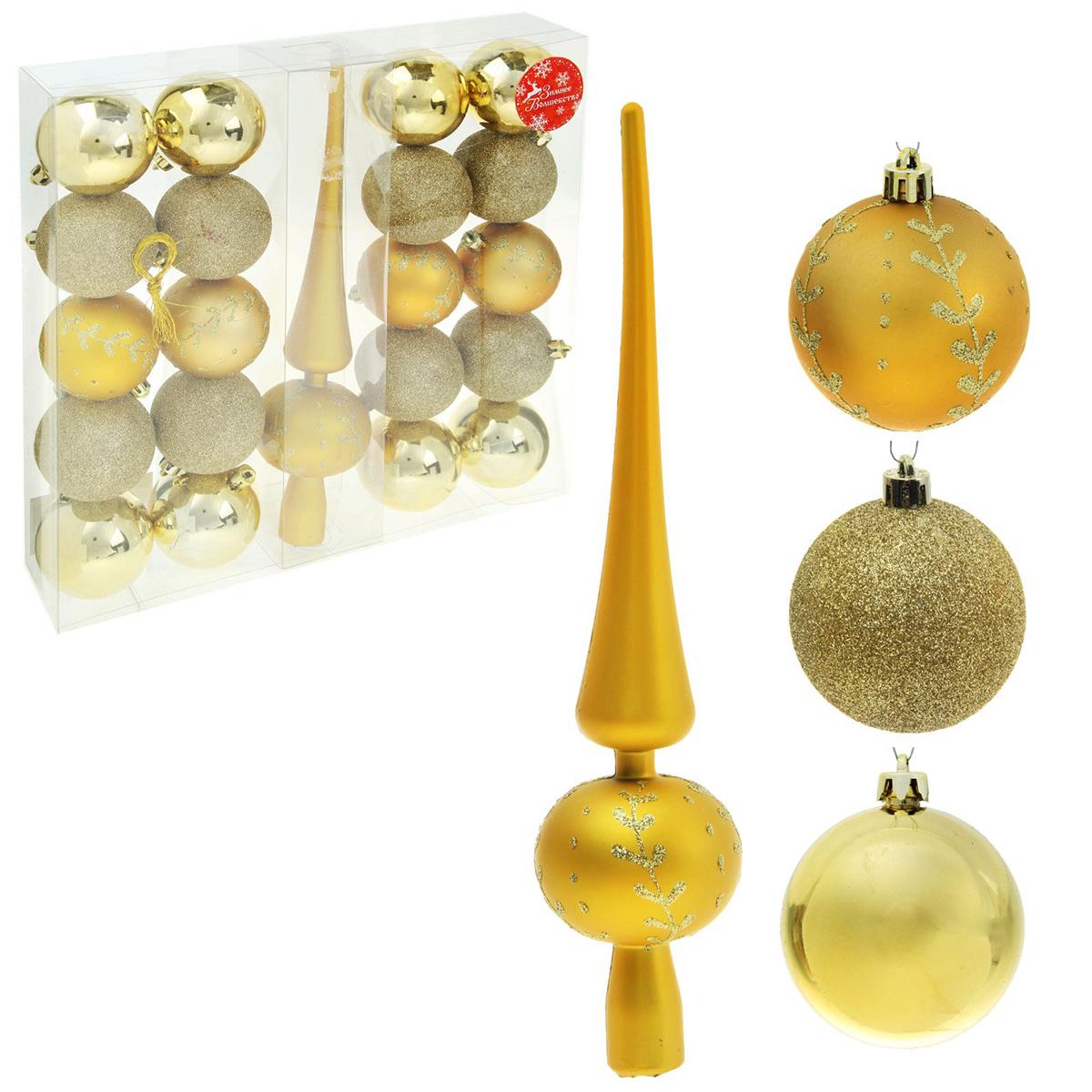 Набор новогодних подвесных украшений Sima-land Веточка, цвет: золотой, 21 шт1346745