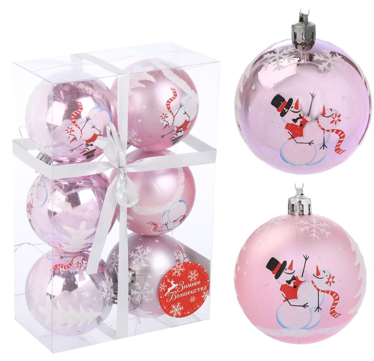 Набор новогодних подвесных украшений Sima-land Веселый снеговик, цвет: розовый, диаметр 7 см, 6 шт2122960
