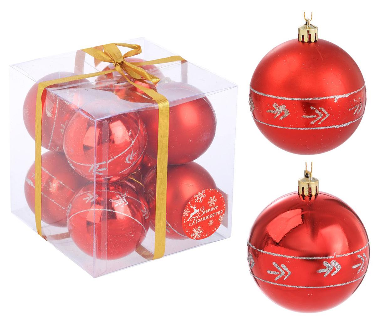 Набор новогодних подвесных украшений Sima-land Галочки, цвет: красный, диаметр 7 см, 8 шт набор новогодних подвесных украшений sima land рельефный цветок диаметр 8 см 4 шт