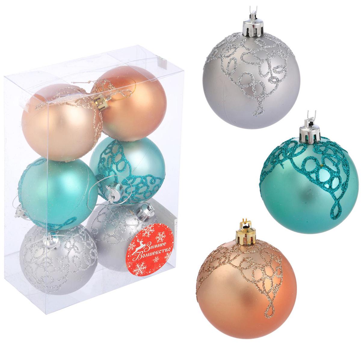 Набор новогодних подвесных украшений Sima-land Двухцветие кружево, диаметр 6 см, 6 шт2123027