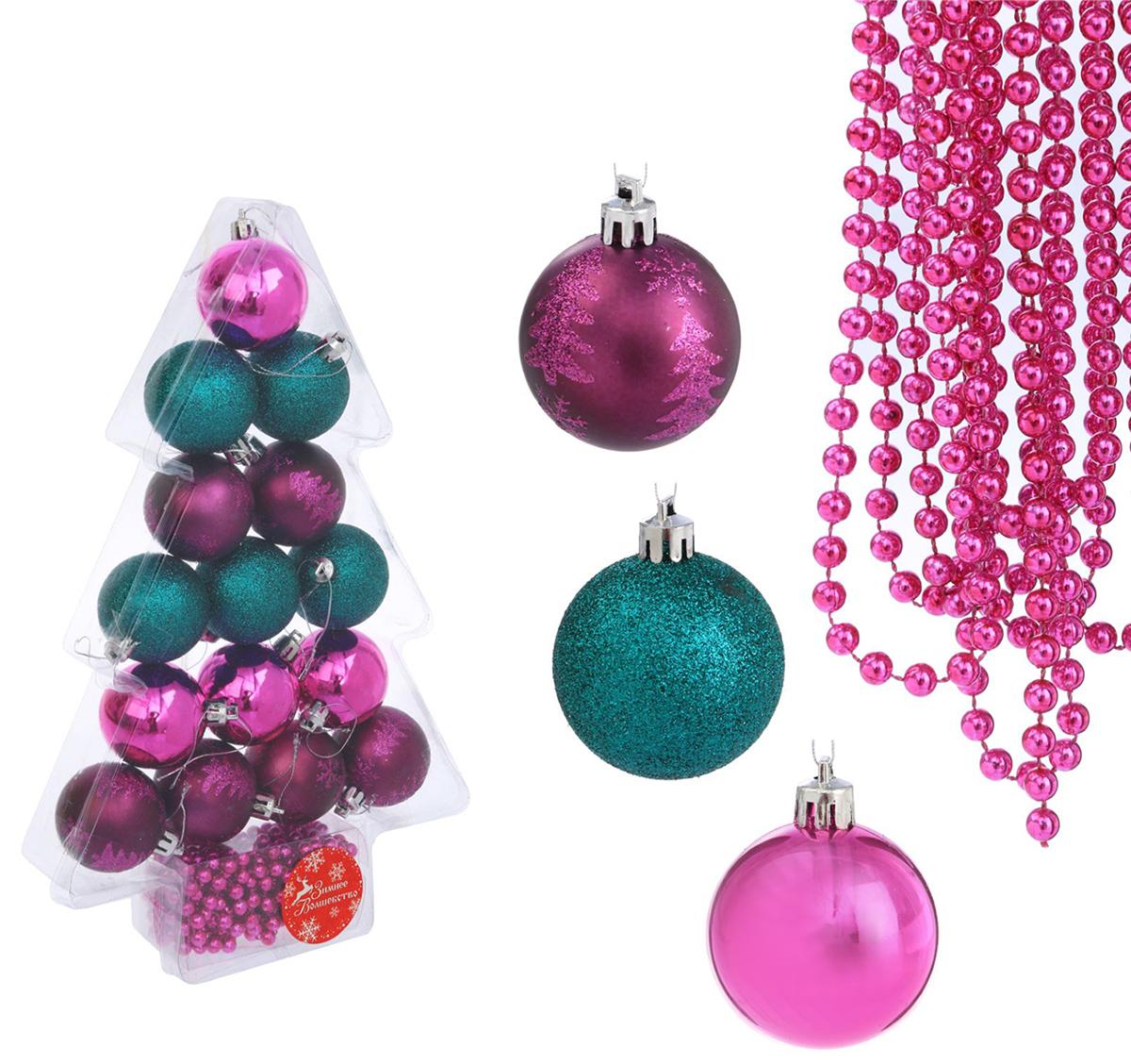 Набор новогодних подвесных украшений Sima-land Елочка, цвет: зеленый, малиновый, 33,5 х 21,5 х 5 см, 16 шт2123036