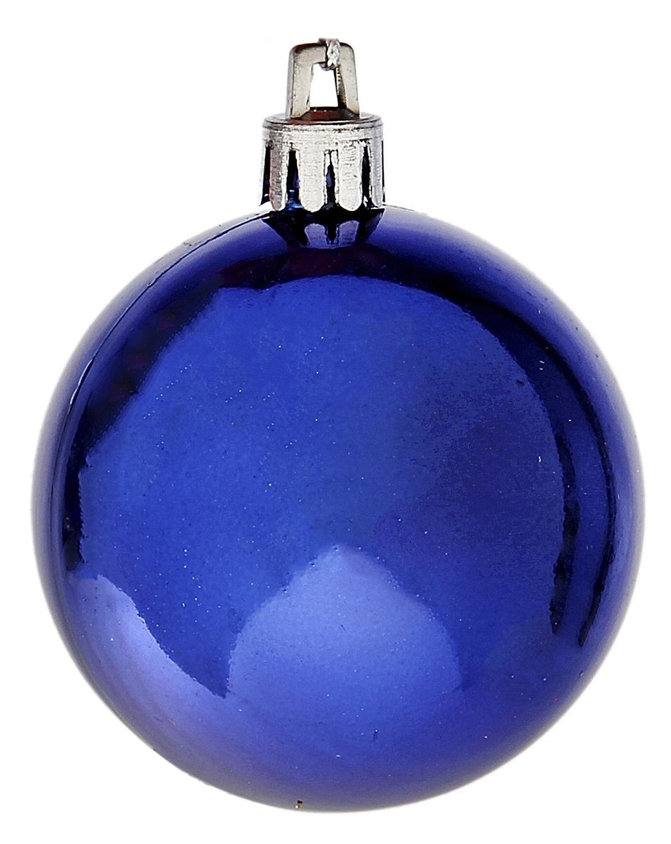 Набор новогодних подвесных украшений Sima-land, цвет: синий, диаметр 6 см, 6 шт735667