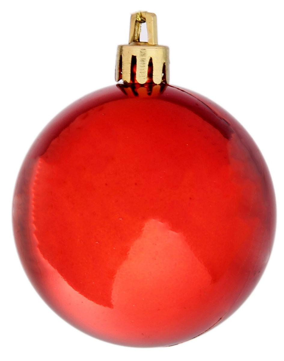 Набор новогодних подвесных украшений Sima-land, цвет: красный, диаметр 6 см, 6 шт735673