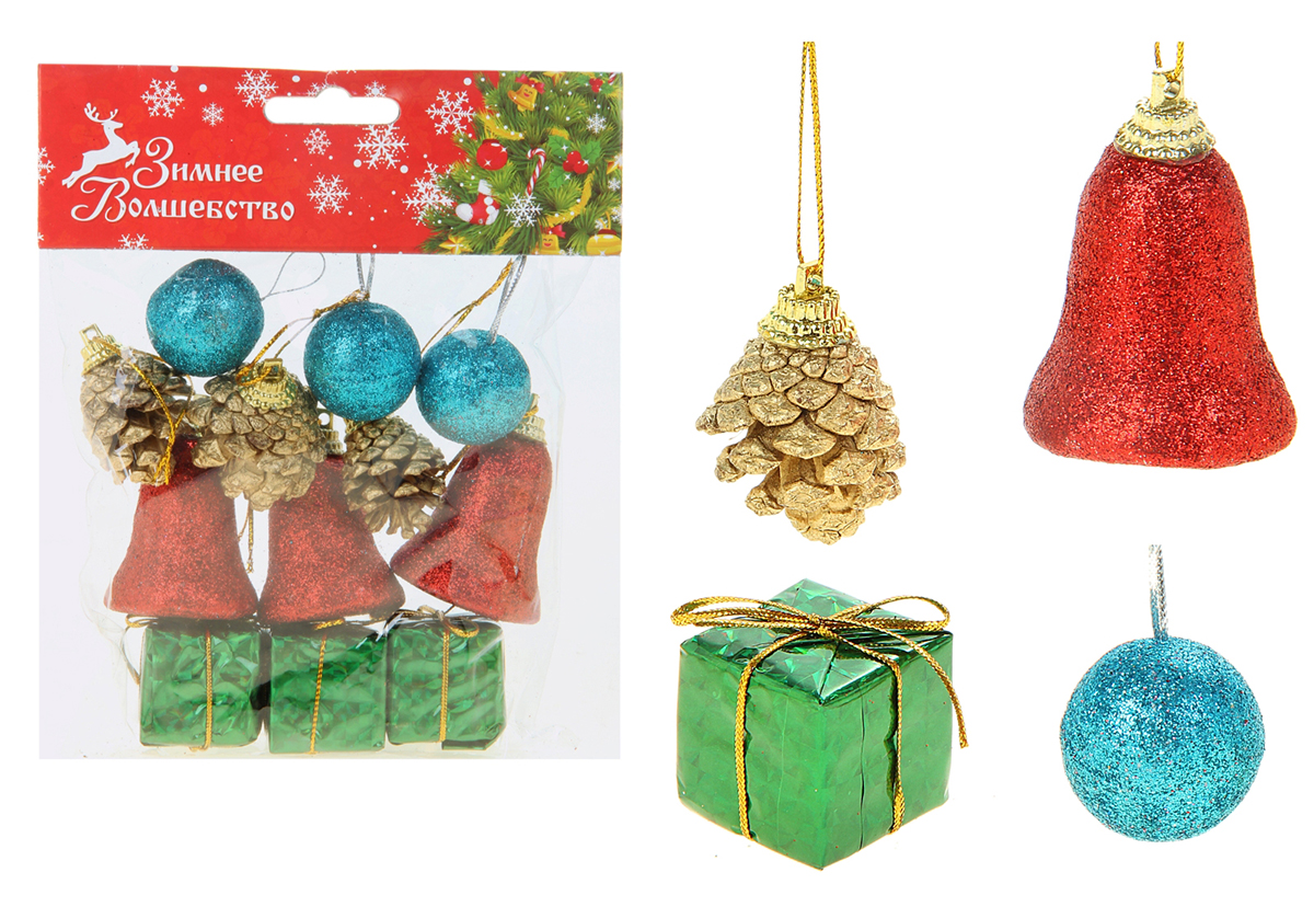Набор новогодних подвесных украшений Sima-land, 12 шт825934