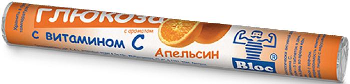 Блок Глюкоза с витамином С с ароматом апельсина таблетки жевательные №18