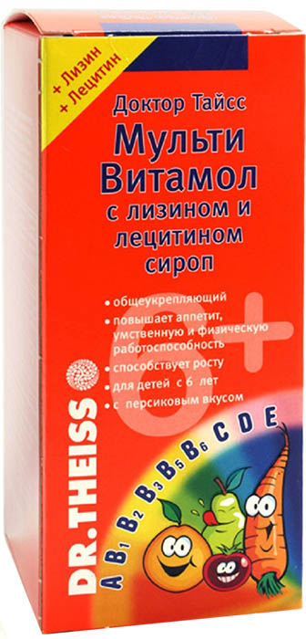 Доктор Тайсс МультиВитамол с лизином и лецитином сироп флакон 200 мл32832Фармакологическое действие - общеукрепляющее, поливитаминное, восполняющее дефицит железа.Абсолютный или относительный гиповитаминоз; профилактика рахита, ослабление иммунитета, период интенсивного роста и развития, период реконвалесценции, умственная и физическая усталость (при работе, учебе и др.), кожные заболевания (в качестве вспомогательного средства).Внутрь — по 15–30 мл или по 1 табл. (предварительно растворив в стакане воды) 2 раза в сутки, детям до 6 лет — по 10–15 мл или по 1 табл. 1 раз в сутки. Сфера применения: ВитаминологияМакро- и микроэлементы