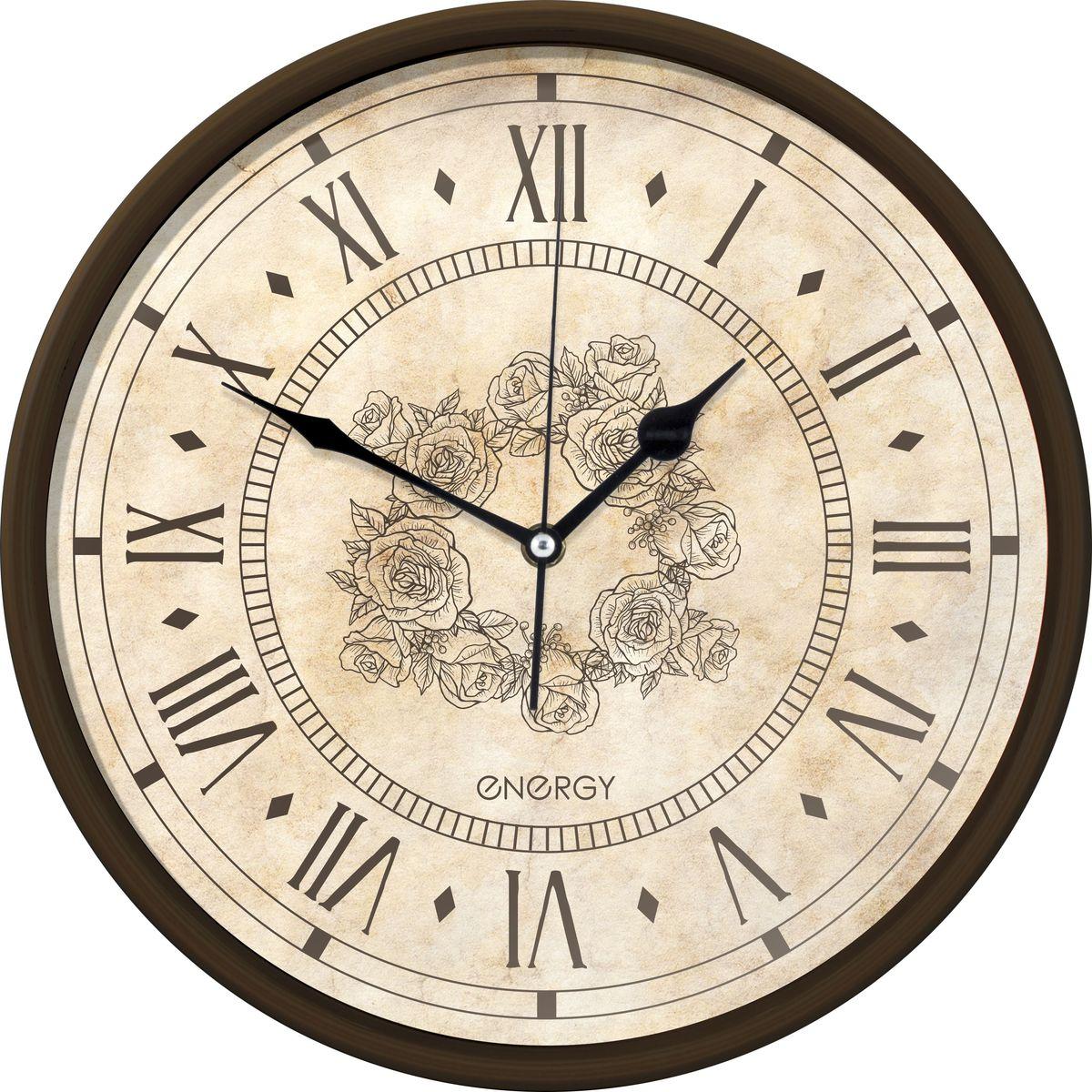 Настенные кварцевые часы с плавным ходом Energy ЕС-106 имеют оригинальный яркий дизайн и поэтому подойдут  для вашего дома или офиса, декорированного в подобном стиле. Крупные цифры коричневого цвета отлично  различимы даже в условиях плохого освещения. Питание осуществляется от 1 батарейки типа АА (в комплект не  входит).  Размер 32 см х 4,5 см