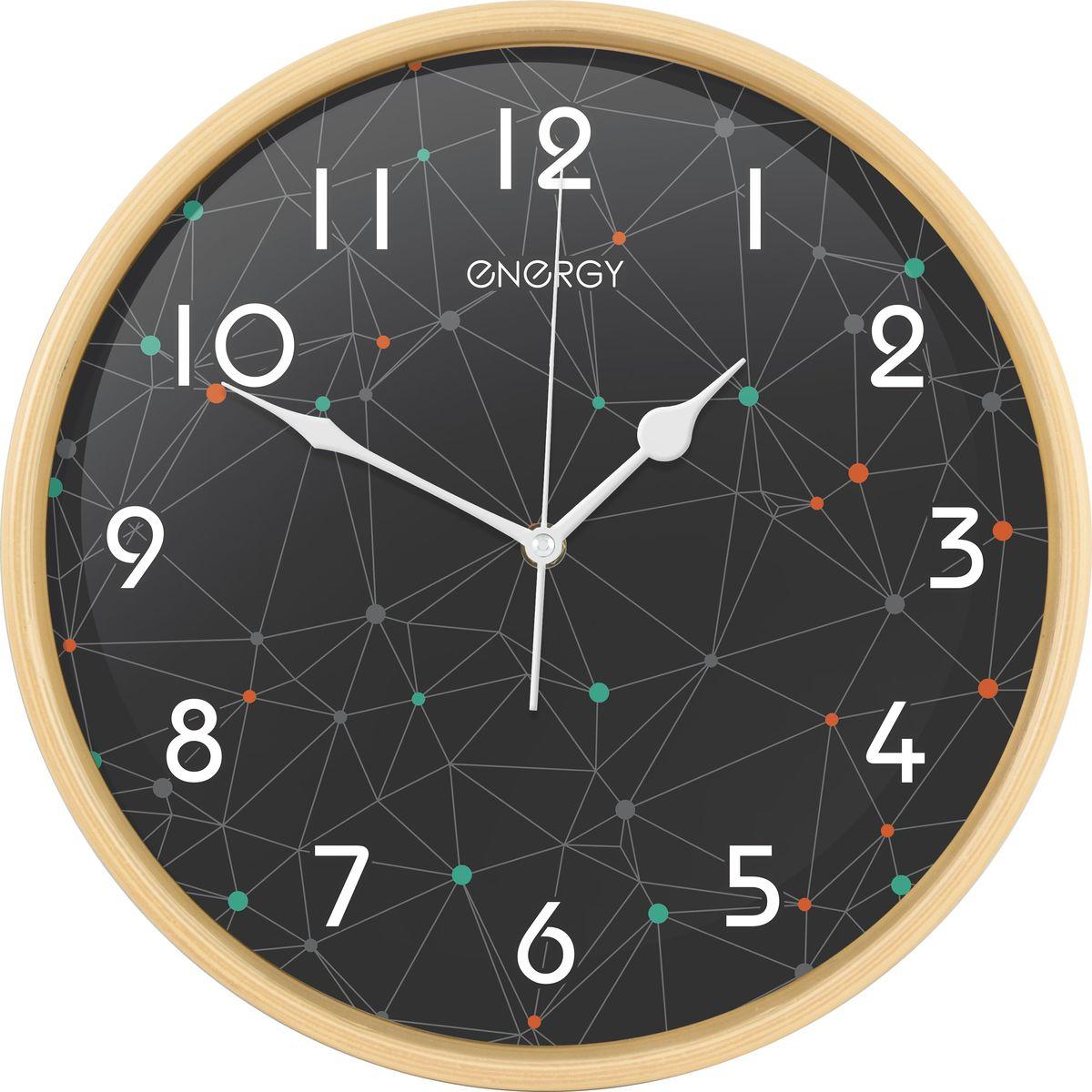 Energy ЕС-107 настенные часыЕС-107Настенные кварцевые часы с плавным ходом Energy ЕС-107 имеют оригинальный яркий дизайн и поэтому подойдутдля вашего дома или офиса, декорированного в подобном стиле. Крупные цифры белого цвета отличноразличимы даже в условиях плохого освещения. Питание осуществляется от 1 батарейки типа АА (в комплект невходит).Размер 32 см х 4,5 см