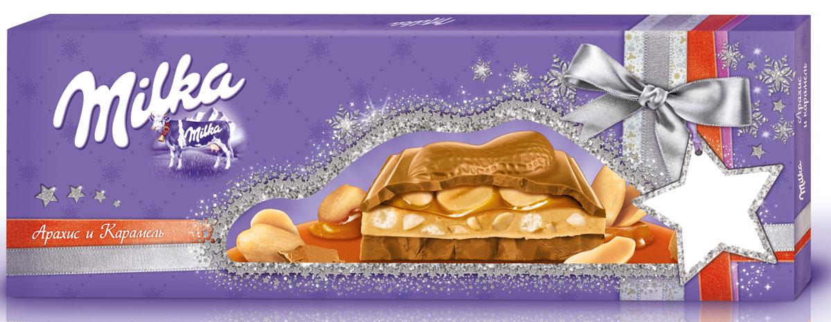 Milka шоколад молочный с карамельной начинкой с арахисом и с арахисовой начинкой с воздушным рисом и кусочками арахиса, 276 г milka 100g