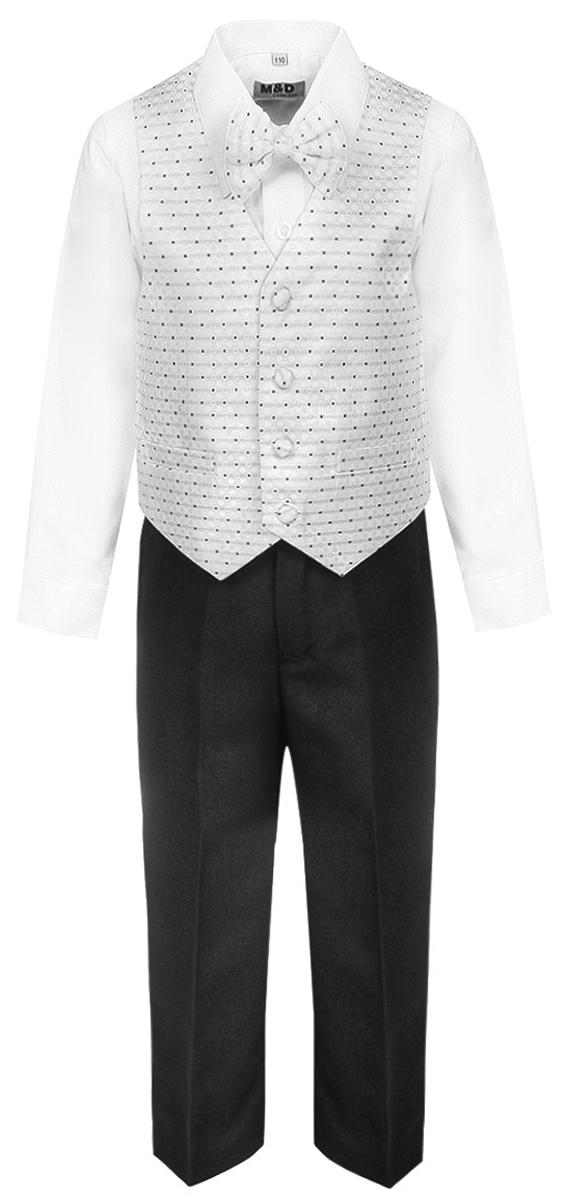Костюм для мальчика M&D, цвет: белый. HWI17012101. Размер 98HWI17012101Костюм для мальчика M&D изготовлен из высококачественного материала. Костюм включает в себя рубашку, брюки, жилет и галстук-бабочку.Рубашка с отложным воротником и длинными рукавами застегивается на пуговицы. Манжеты рукавов оснащены застежками-пуговицами.Брюки классического кроя и стандартной посадки застегиваются на пуговицу в поясе и ширинку на застежке-молнии. На поясе имеются шлевки для ремня. Пояс по бокам присборен на резинки. Брюки дополнены втачными карманами. Жилет с V-образным вырезом горловины застегивается на пуговицы. Спереди расположены два прорезных кармана. Галстук-бабочка оснащен эластичной резинкой.