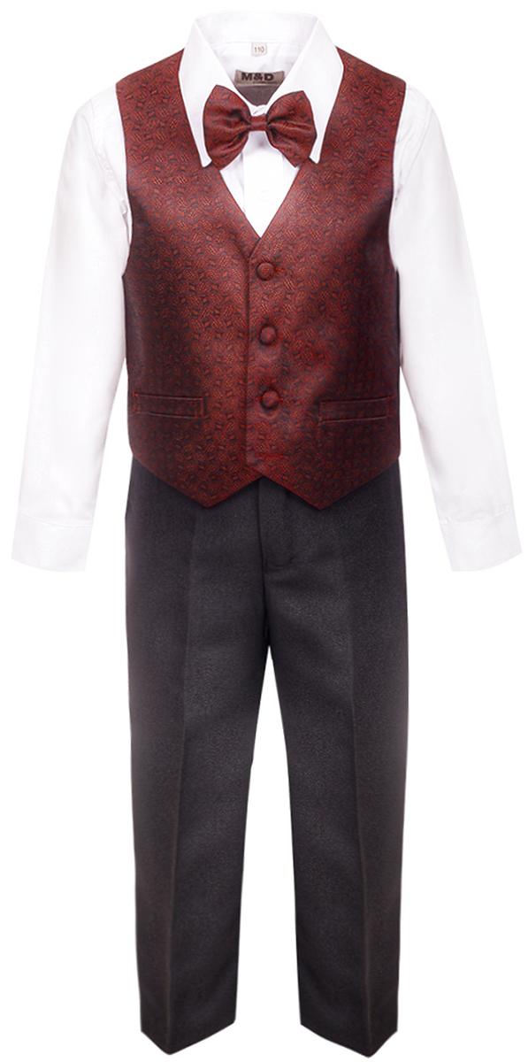 Костюм для мальчика M&D, цвет: бордовый. HWI17011108. Размер 110HWI17011108Костюм для мальчика M&D изготовлен из высококачественного материала. Костюм включает в себя рубашку, брюки, жилет и галстук-бабочку.Рубашка с отложным воротником и длинными рукавами застегивается на пуговицы. Манжеты рукавов оснащены застежками-пуговицами.Брюки классического кроя и стандартной посадки застегиваются на пуговицу в поясе и ширинку на застежке-молнии. На поясе имеются шлевки для ремня. Пояс по бокам присборен на резинки. Брюки дополнены втачными карманами. Жилет с V-образным вырезом горловины застегивается на пуговицы. Спереди расположены два прорезных кармана. Галстук-бабочка оснащен эластичной резинкой.