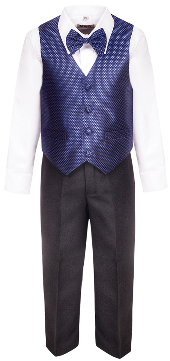 Костюм для мальчика M&D, цвет: синий, черный, белый. HWI17014109. Размер 110HWI17014109Костюм для мальчика M&D изготовлен из высококачественного материала. Костюм включает в себя рубашку, брюки, жилет и галстук-бабочку.Рубашка с отложным воротником и длинными рукавами застегивается на пуговицы. Манжеты рукавов оснащены застежками-пуговицами.Брюки классического кроя и стандартной посадки застегиваются на пуговицу в поясе и ширинку на застежке-молнии. На поясе имеются шлевки для ремня. Пояс по бокам присборен на резинки. Брюки дополнены втачными карманами. Жилет с V-образным вырезом горловины застегивается на пуговицы. Спереди расположены два прорезных кармана. Галстук-бабочка оснащен эластичной резинкой.