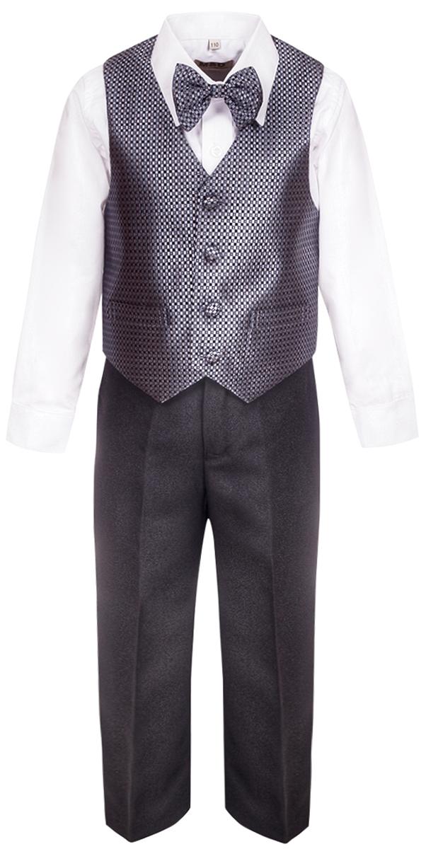 Костюм для мальчика M&D, цвет: темно-серый. HWI17009151. Размер 104HWI17009151Костюм для мальчика M&D изготовлен из высококачественного материала. Костюм включает в себя рубашку, брюки, жилет и галстук-бабочку.Рубашка с отложным воротником и длинными рукавами застегивается на пуговицы. Манжеты рукавов оснащены застежками-пуговицами.Брюки классического кроя и стандартной посадки застегиваются на пуговицу в поясе и ширинку на застежке-молнии. На поясе имеются шлевки для ремня. Пояс по бокам присборен на резинки. Брюки дополнены втачными карманами. Жилет с V-образным вырезом горловины застегивается на пуговицы. Спереди расположены два прорезных кармана. Галстук-бабочка оснащен эластичной резинкой.