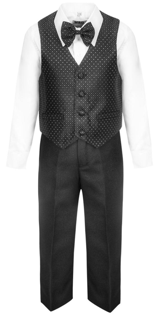 Костюм для мальчика M&D, цвет: черный. HWI17016121. Размер 110HWI17016121Костюм для мальчика M&D изготовлен из высококачественного материала. Костюм включает в себя рубашку, брюки, жилет и галстук-бабочку.Рубашка с отложным воротником и длинными рукавами застегивается на пуговицы. Манжеты рукавов оснащены застежками-пуговицами.Брюки классического кроя и стандартной посадки застегиваются на пуговицу в поясе и ширинку на застежке-молнии. На поясе имеются шлевки для ремня. Пояс по бокам присборен на резинки. Брюки дополнены втачными карманами. Жилет с V-образным вырезом горловины застегивается на пуговицы. Спереди расположены два прорезных кармана. Галстук-бабочка оснащен эластичной резинкой.