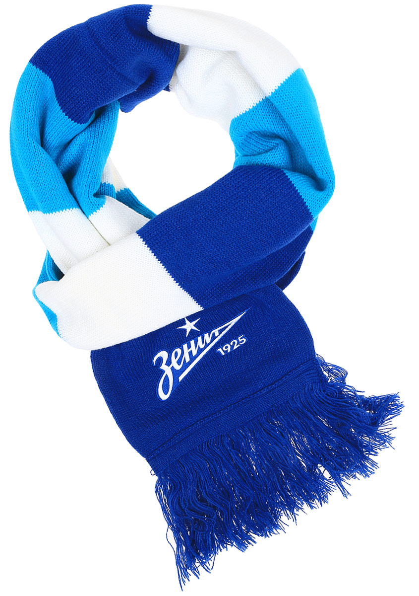 Шарф Atributika & Club ФК Зенит, цвет: голубой, белый. 040041. Размер универсальный040041