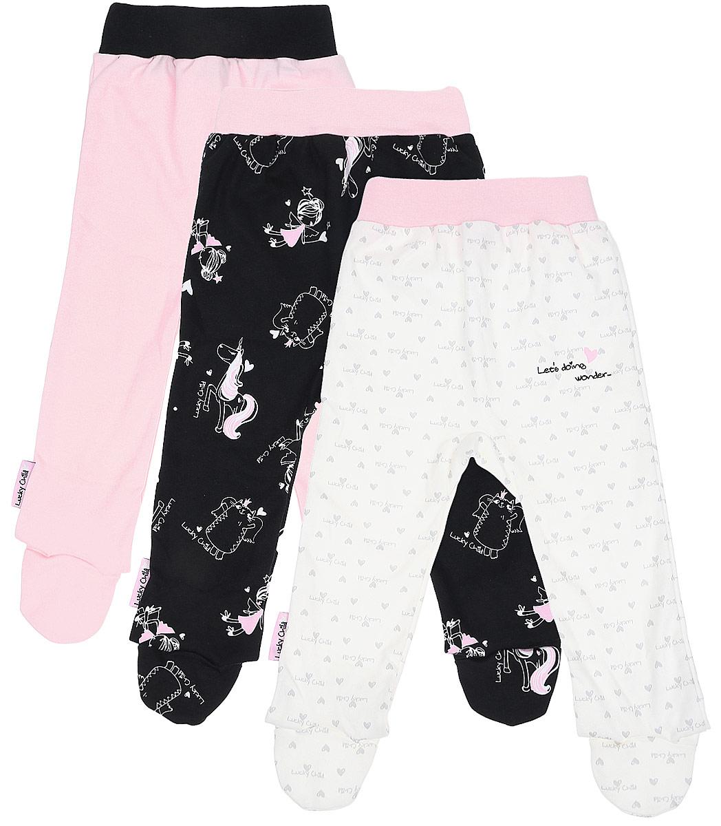 Ползунки детские Lucky Child, цвет: розовый, молочный, черный, 3шт. 30-194/цв. Размер 80/86 ползунки lucky child ползунки крабики а5 104