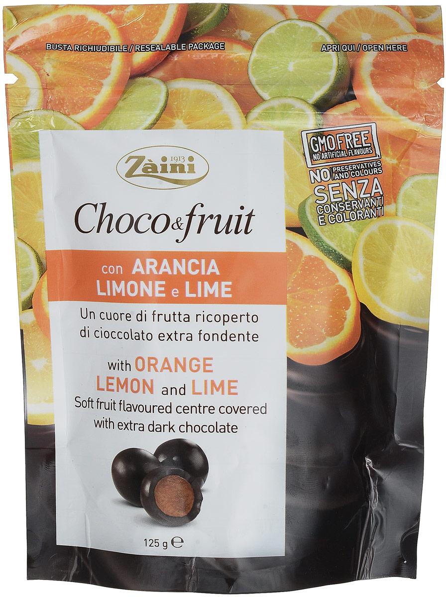 Zaini Choco&Fruit апельсин, лимон и лайм в горьком шоколаде, 125 г1751Zaini Choco&Fruit - шоколадное драже заполненное соком со вкусом апельсина, лимона и лайма. Это очень яркие драже, которые обладают насыщенным фруктовым вкусом.