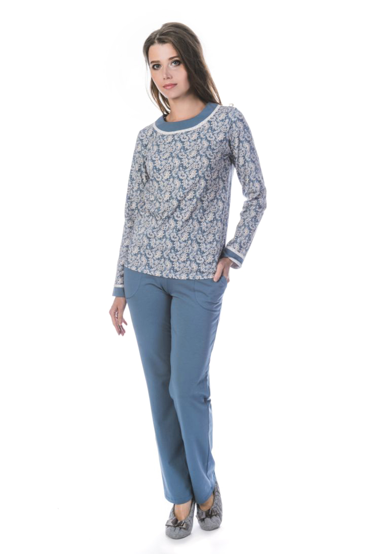 Домашний комплект женский Melado Лакшми: футболка, брюки, цвет: индиго. ML2817/01. Размер 46ML2817/01Домашний комплект с брюками. Верх по горловине и рукавам украшен однотонным вставками и белым вязаным кружевом.