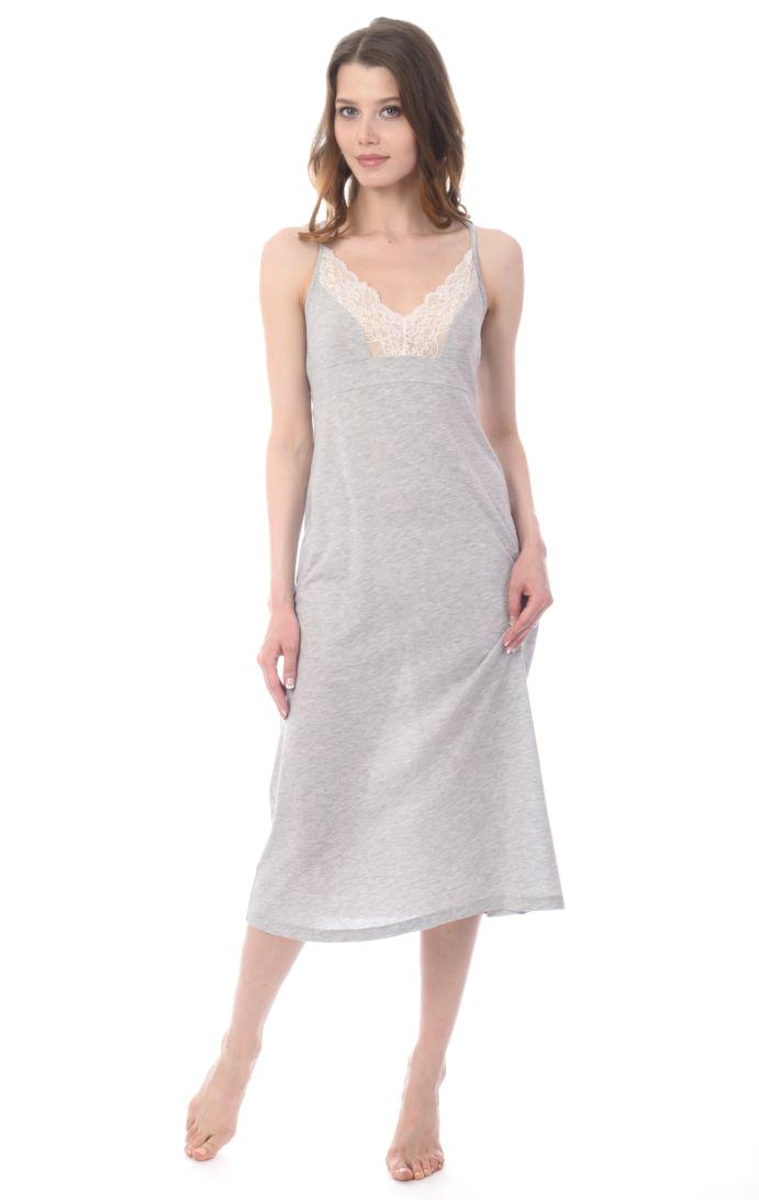 Ночная рубашка женская Melado Ева, цвет: серый. MV2875/01. Размер 50MV2875/01Изящная удлиненная ночная рубашка от Melado выполнена из полотна меланж, украшенная спереди тонким кружевом. По спинке - оригинальный вырез, придающий образу утонченность и женственность.