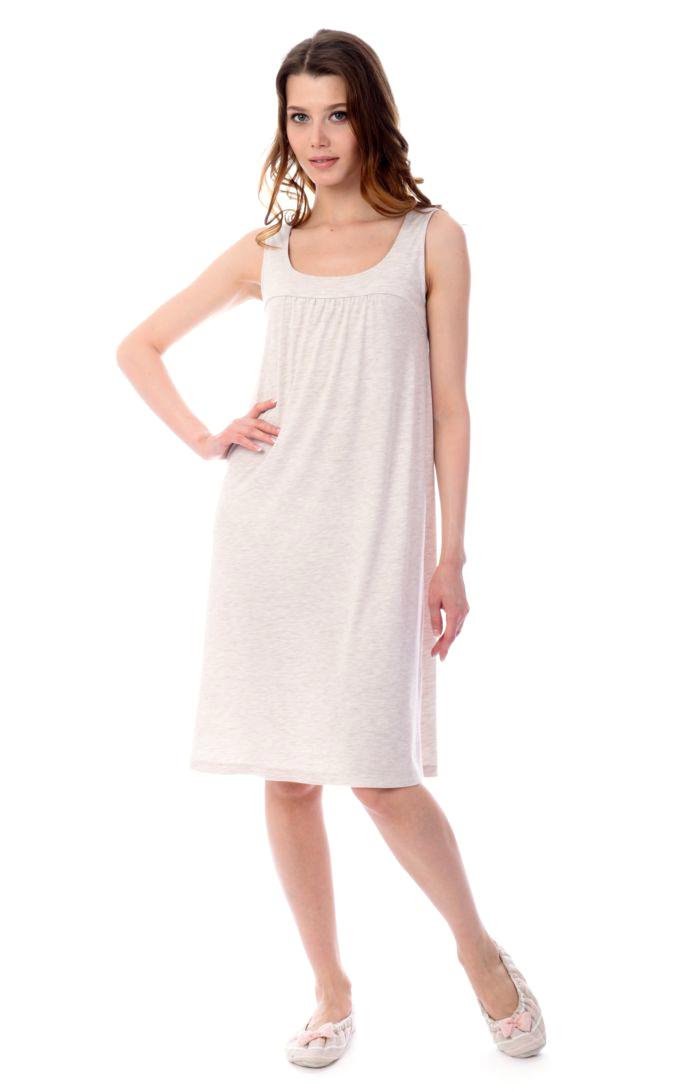 Ночная рубашка женская Melado Луара, цвет: бежевый. MV2836/01. Размер 50MV2836/01Интересная и удобная сорочка на кокетке в актуальном стиле минимализм. Длина сорочки выше колена.