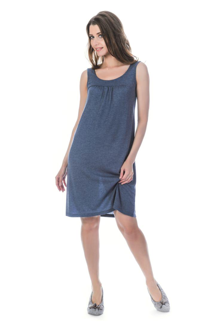 Ночная рубашка женская Melado Луара, цвет: индиго. MV2836/01. Размер 50MV2836/01Интересная и удобная ночная рубашка от Melado на кокетке в актуальном стиле минимализм. Длина сорочки выше колена.