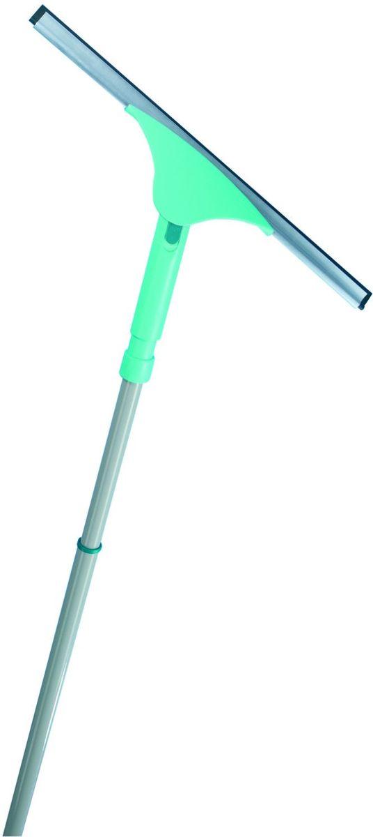 Щетка хозяйственная Leifheit Powerslide, с резинкой, цвет: бирюзовый, 40 см51521Скребок для мыться окон с телескопической ручкой 40 см. Длина ручки: 120 - 200 см.