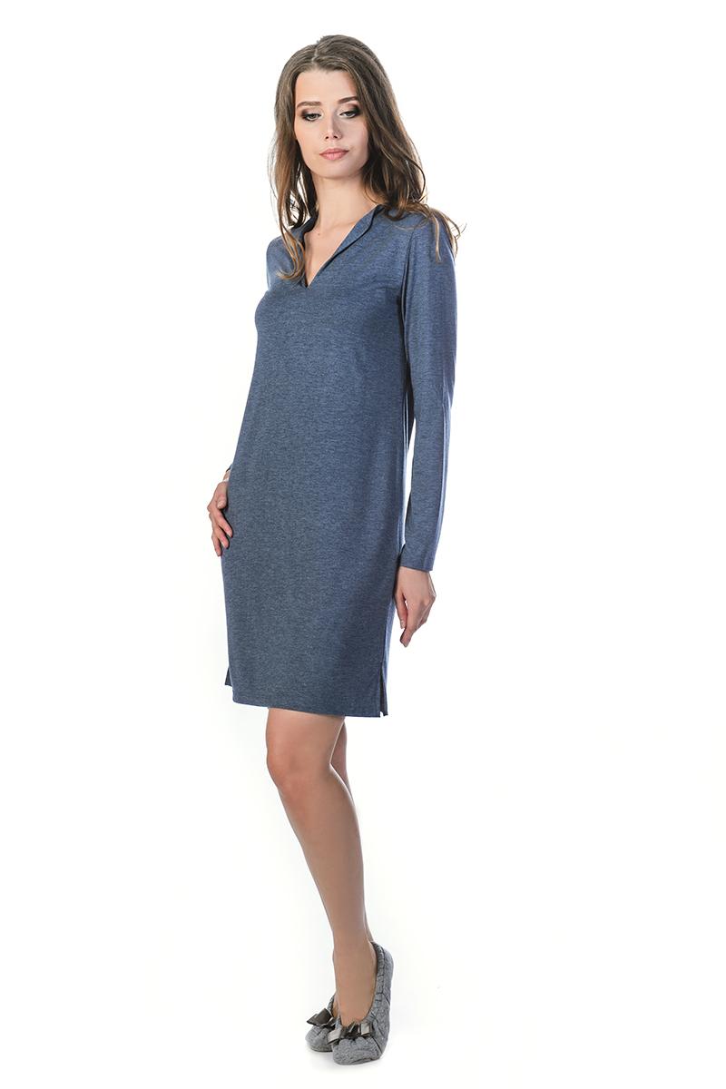 Ночная рубашка женская Melado Луара, цвет: индиго. MV2839/01. Размер 46MV2839/01Изящная и интересная ночная рубашка от Melado выполнена из мягкого полотна с оригинальным вырезом. Модель с длинными рукавами и V-образным вырезом горловины. Отлично подходит в качестве удобного и красивого домашнего платья.