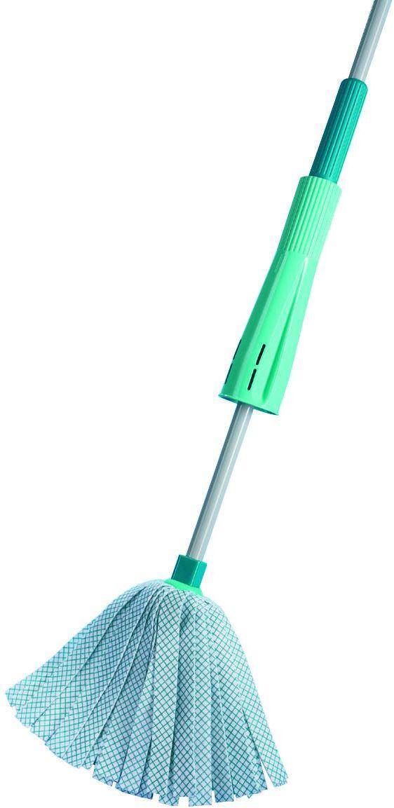Швабра хозяйственная для пола Leifheit Wet Mop, цвет: бирюзовый56710Швабра Classic Wringmop со встроенной ручкой для отжима на ручке. Специальное ведро не требуется. Впитывающие вискозные полосы: идеально убирают лестницы и углы.