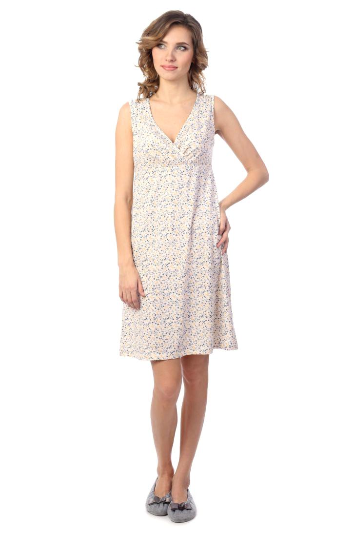 Ночная рубашка женская Melado Мадлен, цвет: белый, индиго. MH1521/01. Размер 46MH1521/01Женственная ночная рубашка от Melado без рукавов и с лифом на запахе выполнена из качественного полотна. V-образный вырез горловины. Длина выше колена.