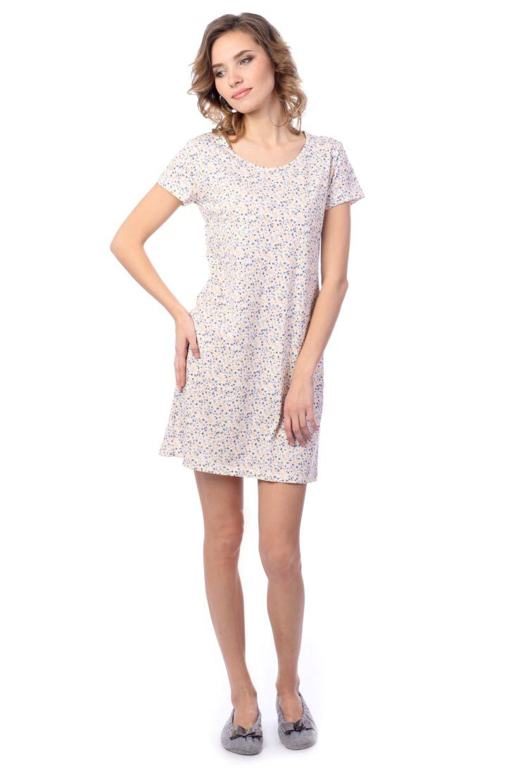 Ночная рубашка женская Melado Мадлен, цвет: белый, индиго. MH2014/02. Размер 48MH2014/02Классическая и очень удобная ночная рубашка от Melado выполнена из качественного полотна. Модель с короткими рукавами и круглым вырезом горловины. Длина выше колена.