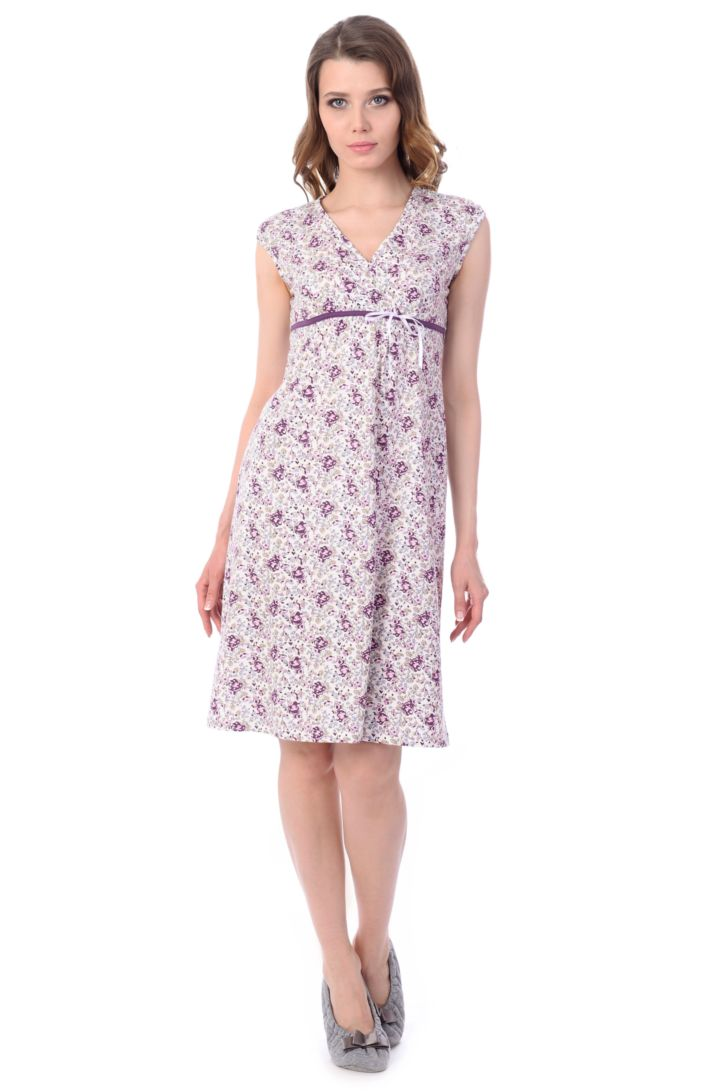 Ночная рубашка женская Melado Мадлен, цвет: белый, фиолетовый. MH1230/01. Размер 46MH1230/01Женственная ночная рубашка от Melado без рукавов и с лифом на запахе выполнена из качественного полотна. V-образный вырез горловины. Длина выше колена.