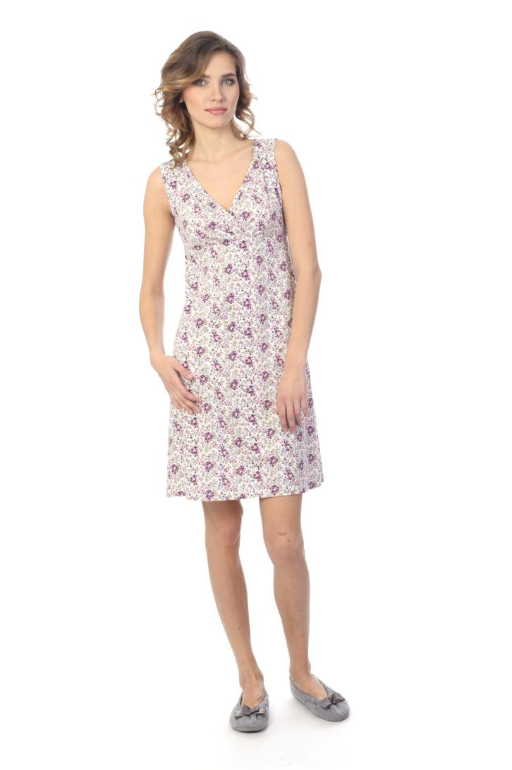 Ночная рубашка женская Melado Мадлен, цвет: белый, фиолетовый. MH1521/01. Размер 48MH1521/01Женственная ночная рубашка от Melado без рукавов и с лифом на запахе выполнена из качественного полотна. V-образный вырез горловины. Длина выше колена.