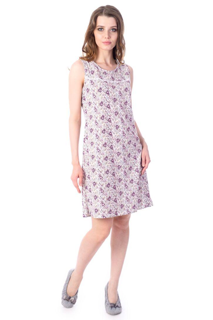 Ночная рубашка женская Melado Мадлен, цвет: белый, фиолетовый. MH2024/02. Размер 50MH2024/02Удобная ночная рубашка от Melado с открытыми плечами выполнена из нежного и приятного полотна. Круглый вырез горловины. Длина выше колена.