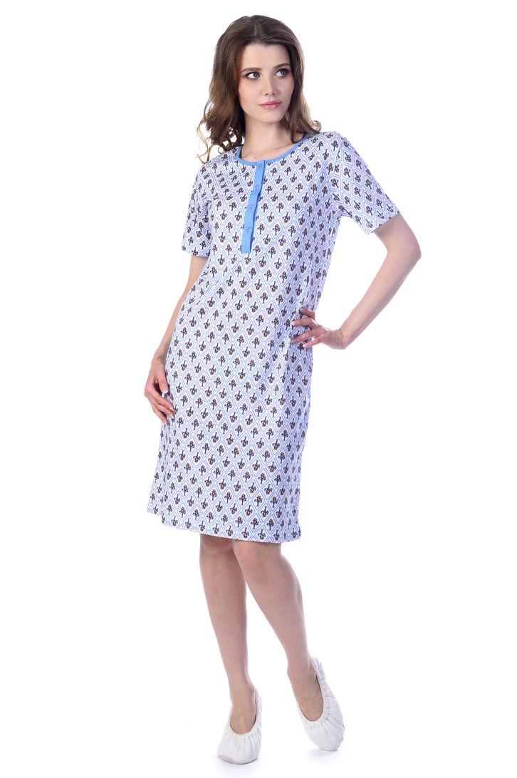 Ночная рубашка женская Melado Прованс, цвет: белый, голубой. MK2749/02. Размер 46MK2749/02Комфортная ночная рубашка от Melado с коротким рукавом и планкой на пуговицах на груди. Удобная модель из мягкого полотна.