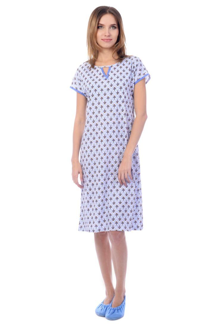 Ночная рубашка женская Melado Прованс, цвет: белый, голубой. MK2751/01. Размер 50