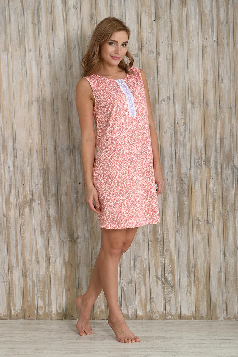 Ночная рубашка женская Melado Фантазия, цвет: оранжевый. MK2782/01. Размер 50MK2782/01Комфортная ночная рубашка от Melado выполнена из натурального хлопка. Лиф украшен кружевной планкой. Длина до колена.