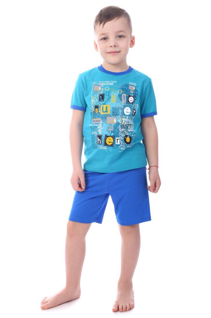 Пижама для мальчика Melado Космос, цвет: голубой. MK2646/05. Размер 98MK2646/05Оригинальная пижама для мальчика от Melado, состоящая из футболки и шорт, изготовлена из натурального хлопка. Футболка с короткими рукавами и круглым вырезом горловины спереди оформлена ярким принтом. Шорты с эластичной резинкой на талии.