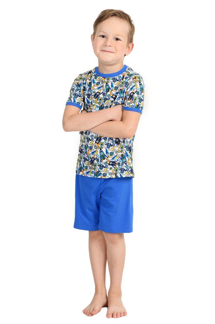 Пижама для мальчика Melado Космос, цвет: синий. MI2644/02. Размер 116MI2644/02Уютная пижама для мальчика от Melado, состоящая из футболки и шорт, выполнена из интерлока. Футболка с короткими рукавами и круглым вырезом горловины. Шорты с эластичной резинкой на талии.