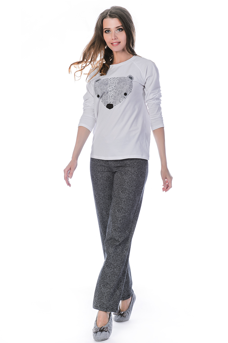 Пижама женская Melado Адель, цвет: белый, серый. ML2858/01. Размер 48 платья melado платье камея