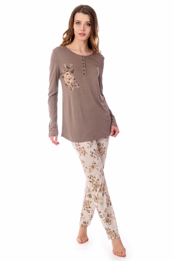 Пижама женская Melado Александра, цвет: какао. MV2807/01. Размер 48
