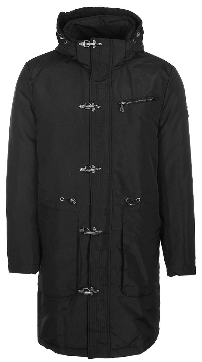 Пальто мужское Finn Flare, цвет: черный. W17-22032_200. Размер M (48)W17-22032_200Пальто Finn Flare изготовлено из качественного полиэстера с утеплителем из синтепона. Модель с длинными рукавами и капюшоном застегивается на молнию с ветрозащитной планкой на заклепках. Пальто дополнено одним нагрудным карманом и двумя накладными карманами. На талии модель имеет утягивающую резинку с фиксаторами.