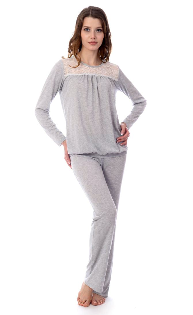 Пижама женская Melado Ева, цвет: серый. MV2878/01. Размер 50MV2878/01Комфортная пижама-домашний комплект из мягкого полотна меланж. Женственность образу придает кокетка и кружевная вставка в области груди.