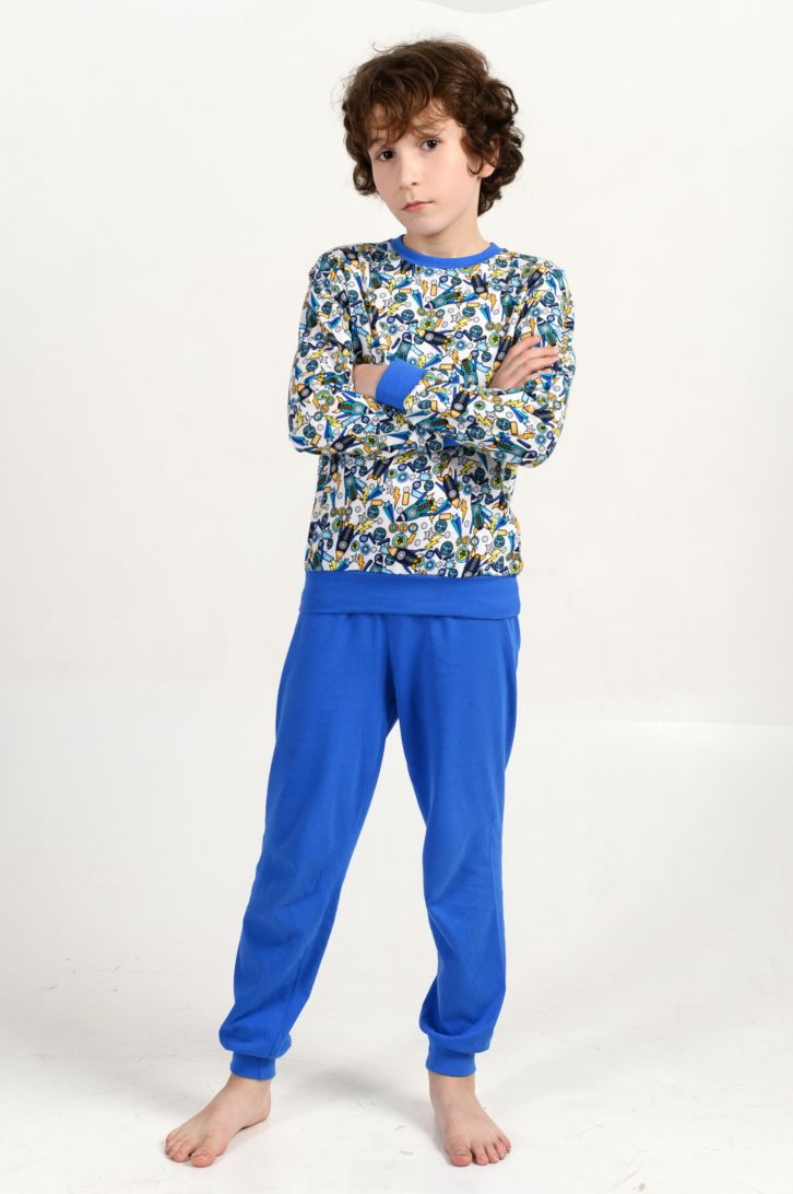 Лонгслив для дома для мальчика Melado Космос, цвет: синий. MI2674/01. Размер 116