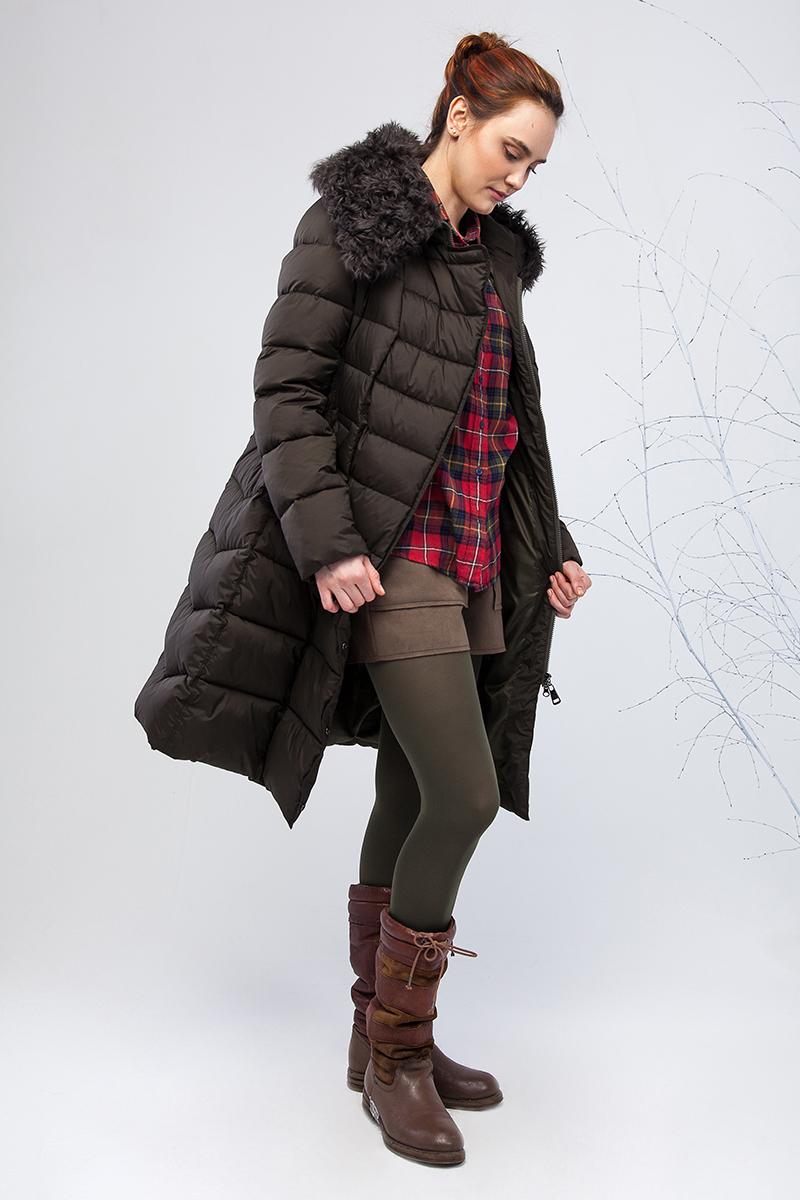 Куртка женская Clasna, цвет: темно-зеленый. CW17D-086CQ. Размер S (42)CW17D-086CQ(454)Наполнитель био-пух.