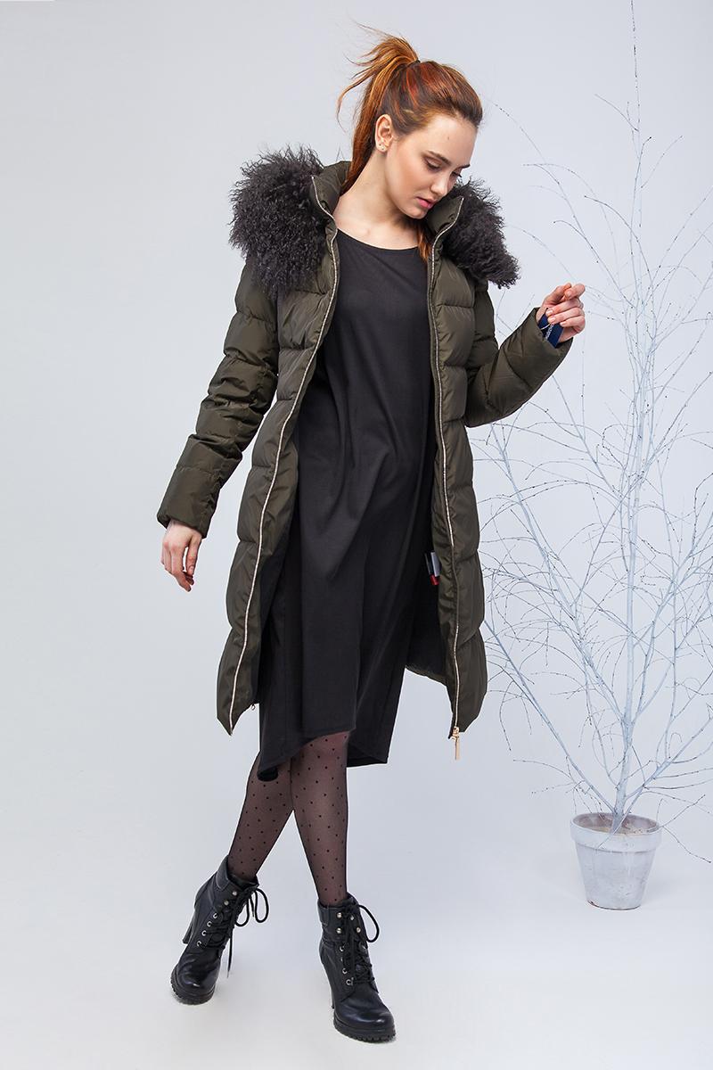 Куртка женская Clasna, цвет: темно-зеленый. CW17D-085CQ. Размер L (46)CW17D-085CQ(458)Наполнитель био-пух.