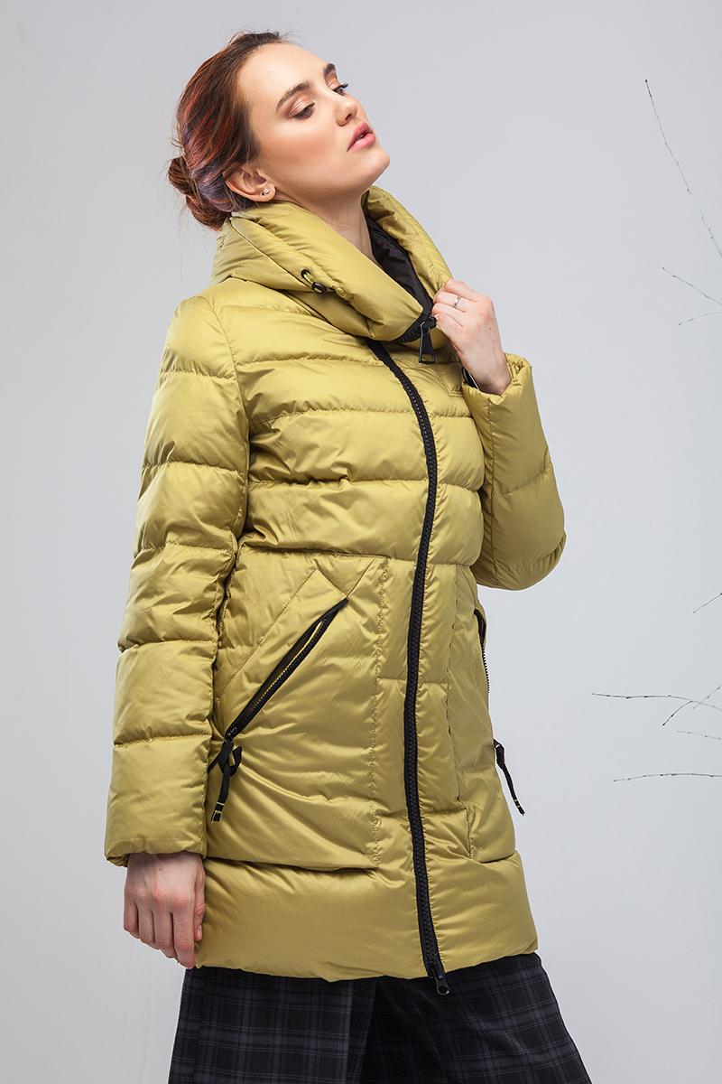 Пуховик женский Clasna, цвет: желтый. CW17D-076CW. Размер XL (48)