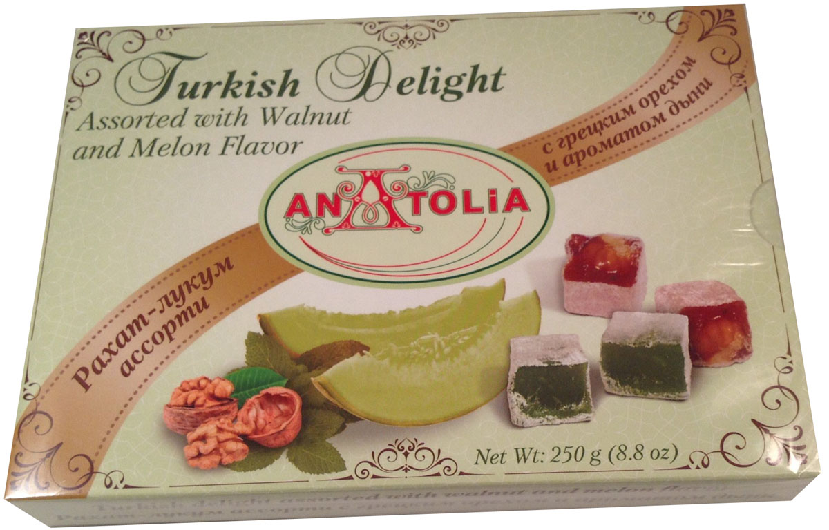 Anatolia рахат-лукум ассорти с грецким орехом и ароматом дыни, 250 г lukeria рахат лукум с алоэ вера и дыней 100 г