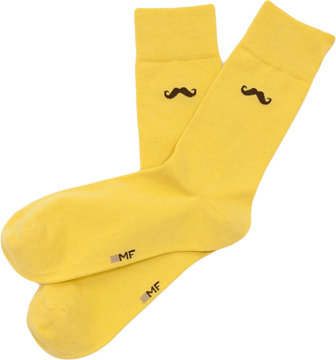 Носки мужские Mark Formelle, цвет: горчичный. 001K-226. Размер 40/41001K-226Удобные носки от Mark Formelle, изготовленные из высококачественного хлопкового материала с добавлением полиамида и эластана, очень мягкие и приятные на ощупь, позволяют коже дышать. Эластичная резинка плотно облегает ногу, не сдавливая ее, обеспечивая комфорт и удобство. Сбоку на щиколотке носки оформлены принтом усы.