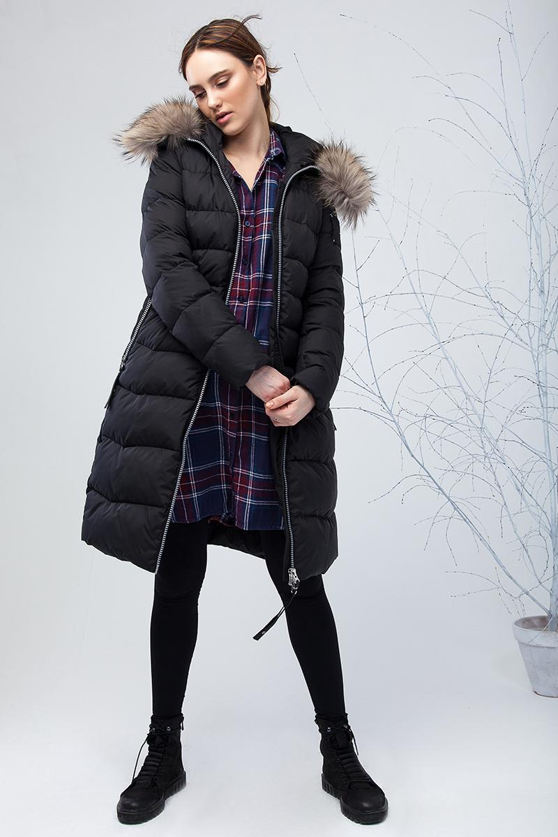Куртка женская Clasna, цвет: черный. CW17D-031CH. Размер M (44)CW17D-031CH(701)Наполнитель био-пух.