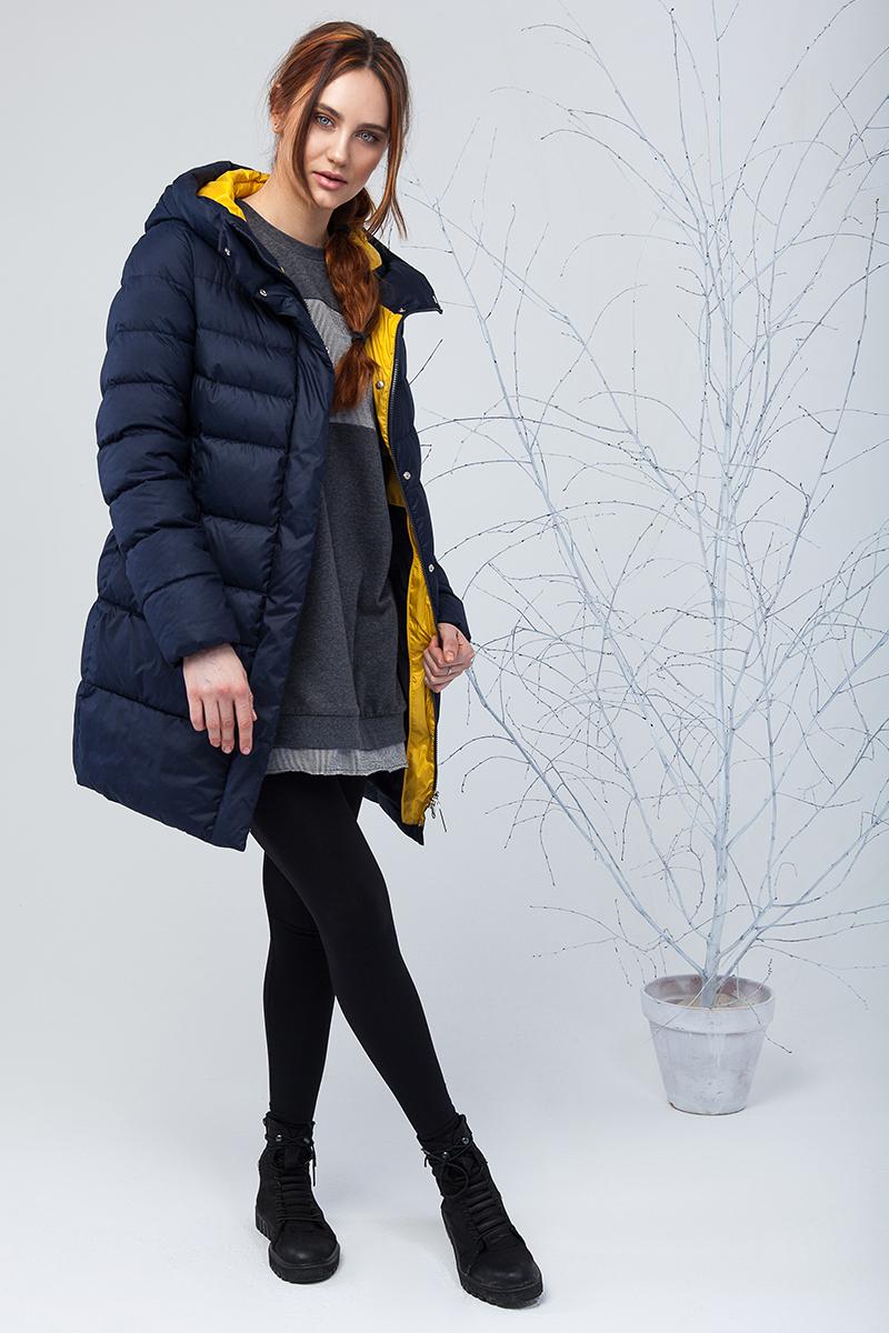 Куртка женская Clasna, цвет: синий. CW17D-022DW. Размер S (42)CW17D-022DW(561)Наполнитель 70% пух, 30% перо